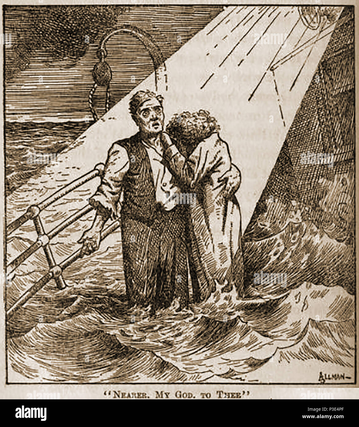 A 1912 newspaper illustration from the Toledo News Bee showing the last moments of passengers on the sinking TITANIC - Stock Image