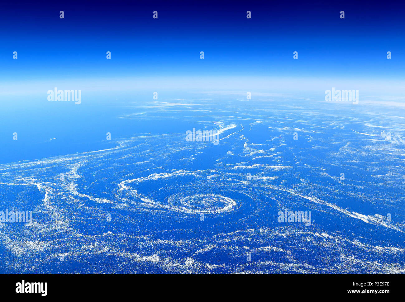 The Earth from above: Floating sea ice caught in marine currents off the eastern coast of Canada. - Stock Image