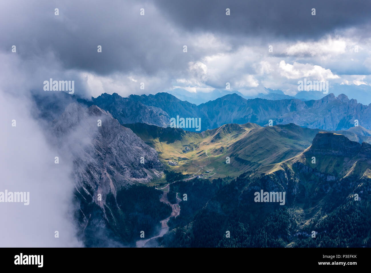 Hiking in the dolomites of Italy - Piz Boe Stock Photo