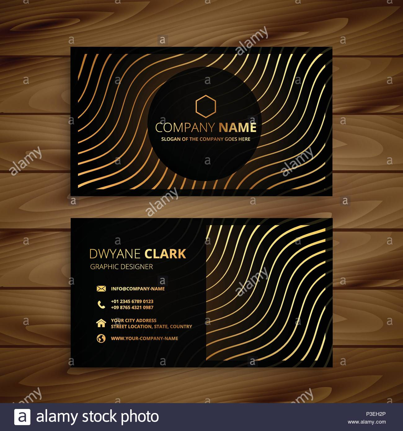 Golden premium business card template stock vector art golden premium business card template colourmoves