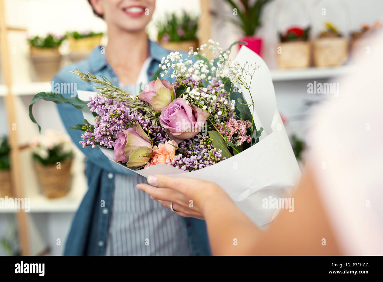 Selective focus of a big beautiful bouquet - Stock Image