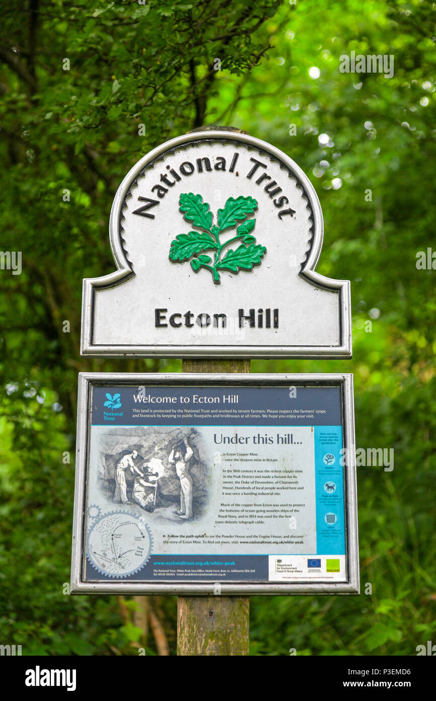 National Trust omega sign at Ecton Hill, Staffordshire, England, UK - Stock Image