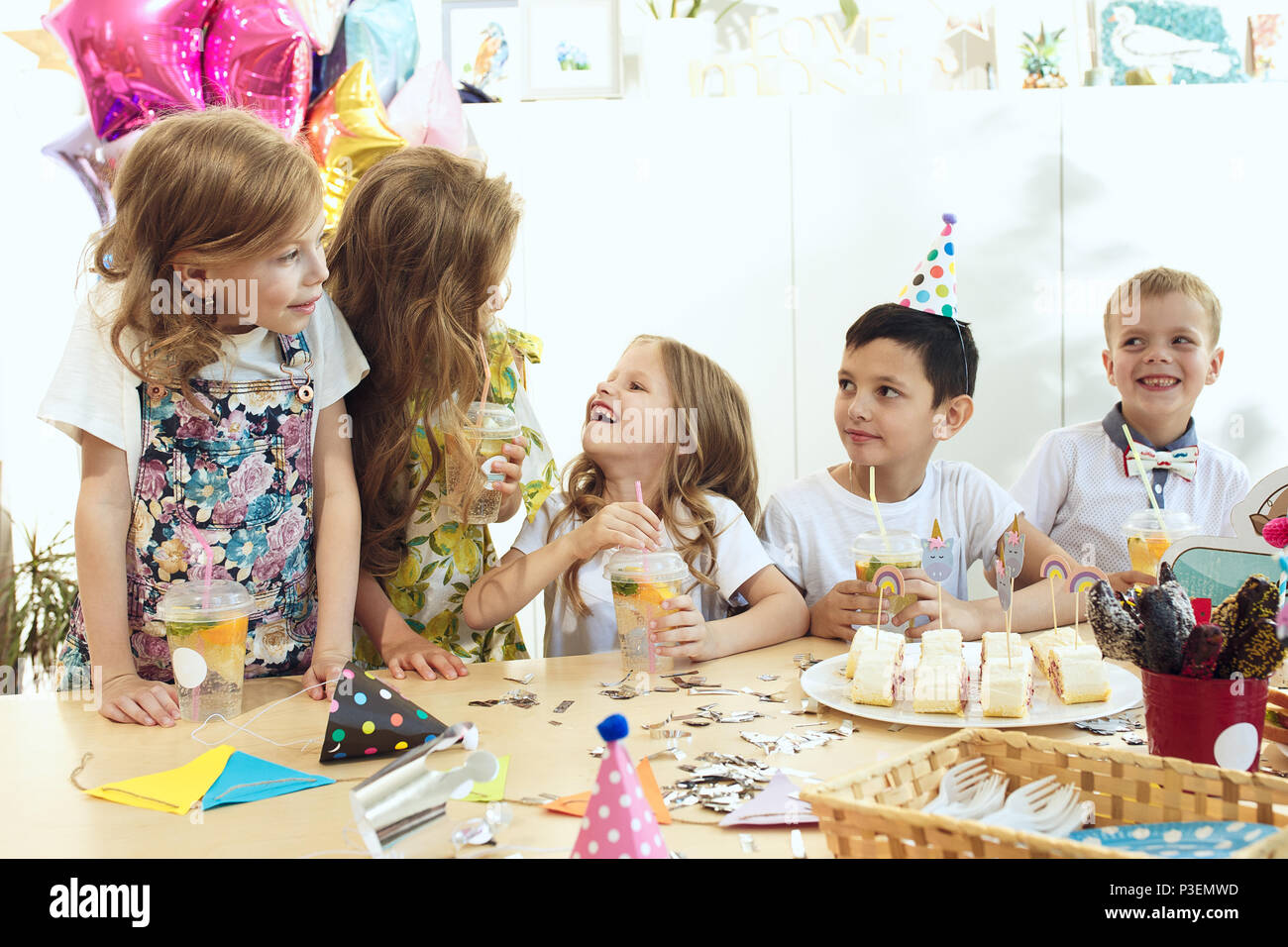 Girl Birthday Decorations Table Setting With Cakes Drinks And Party Gadgets