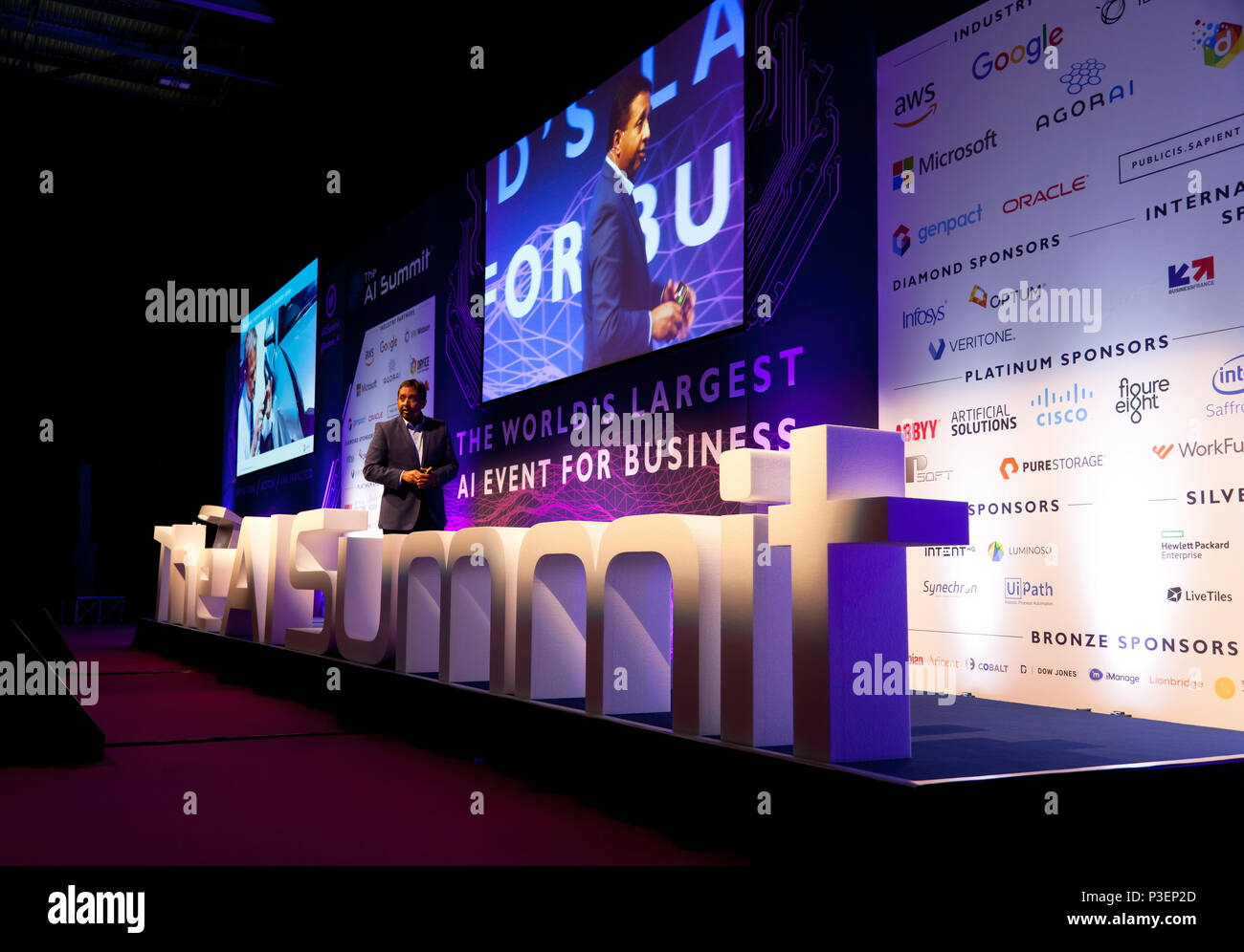 Sanjay Srivastava, Chief Digital Officer at Genpact, giving a lecture entitled:Three Challenges in implementing AI in the enterprise, At the AI Summit - Stock Image