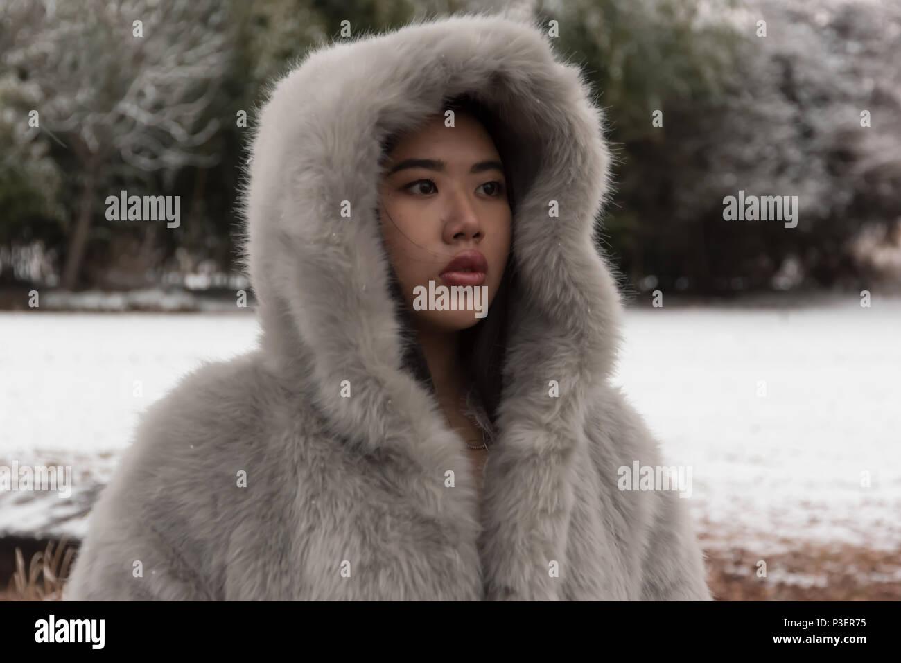 Pretty Korean Girl In Winter Coat Stock Photo Alamy