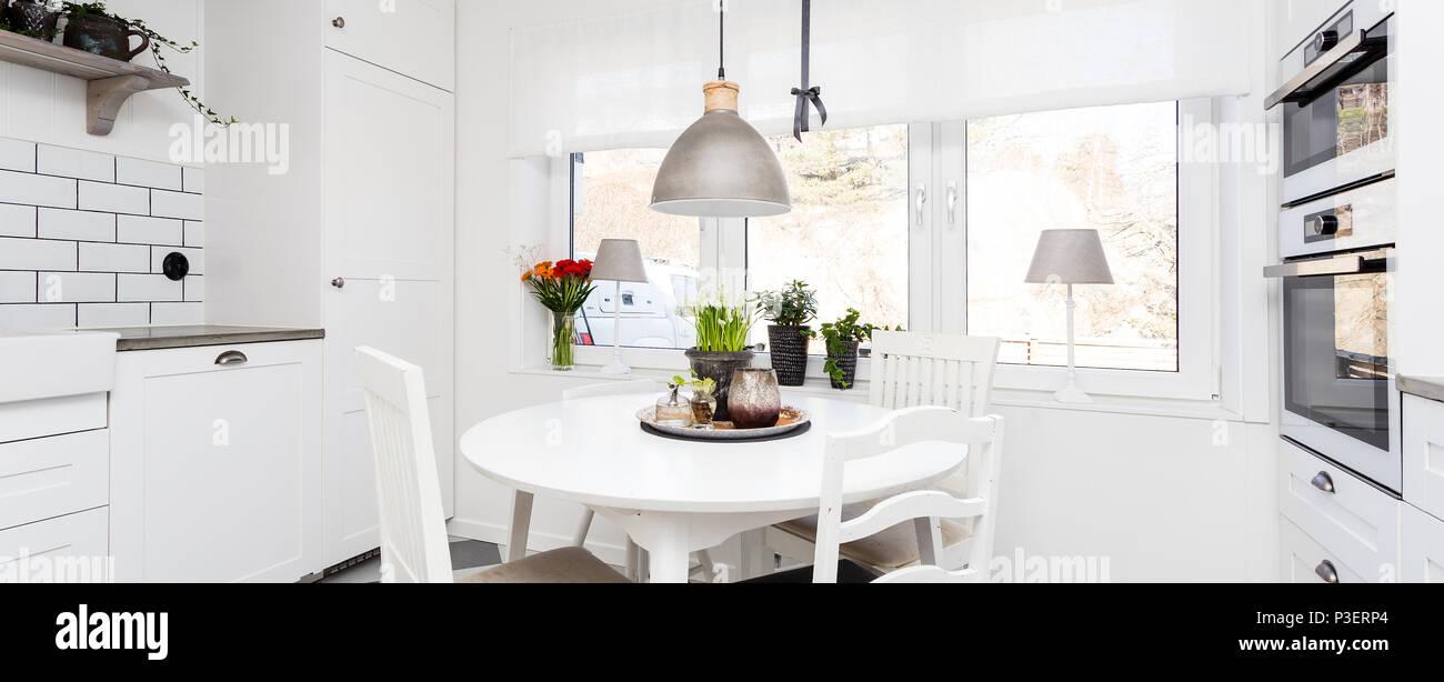Banner Of A Fancy Scandinavian Kitchen Interior Stock Photo