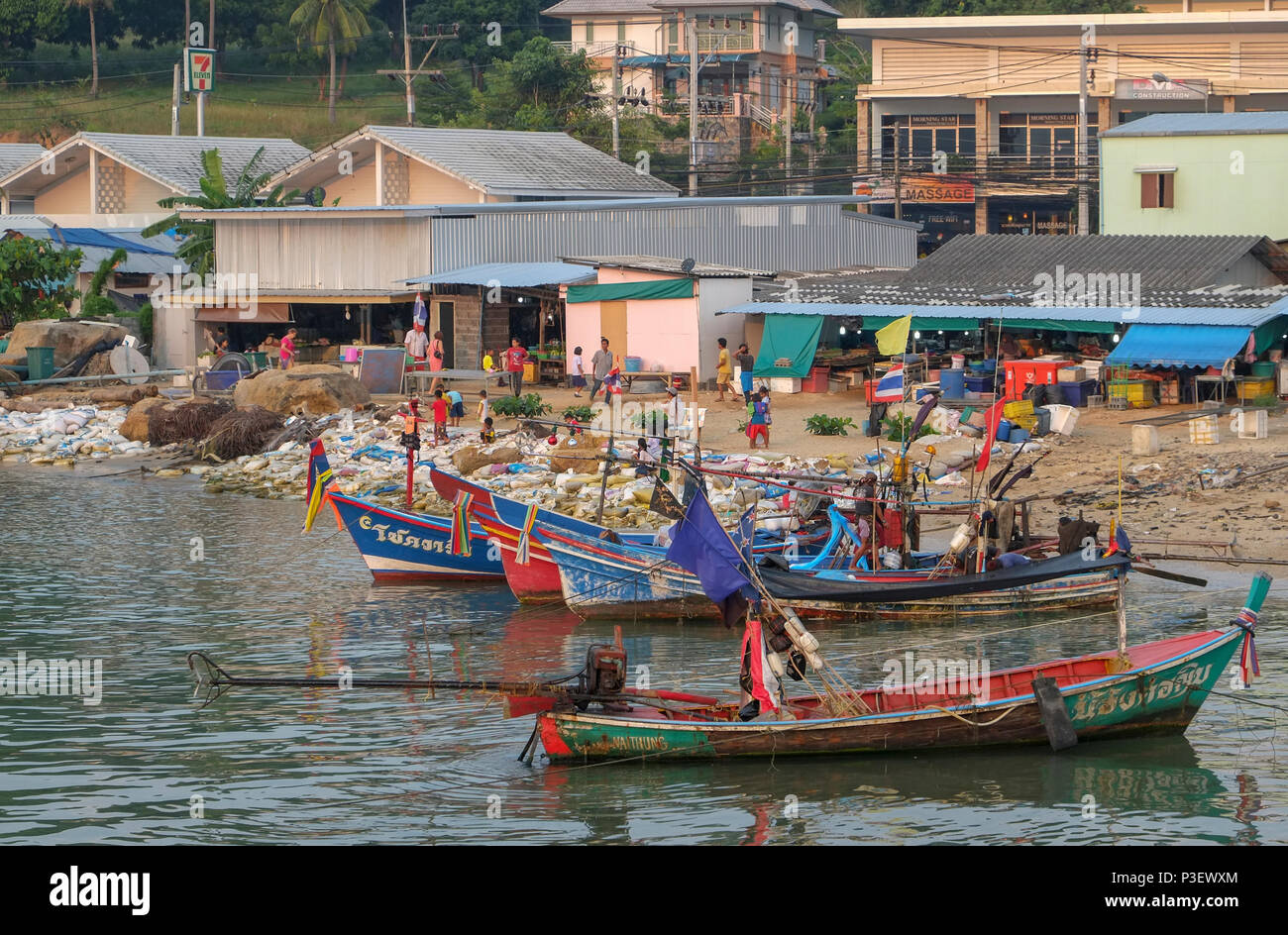 Thailand, Koh Samui, East Coast Baan Hua Thanon. A Muslim fishing village. Boats moored in harbour - Stock Image