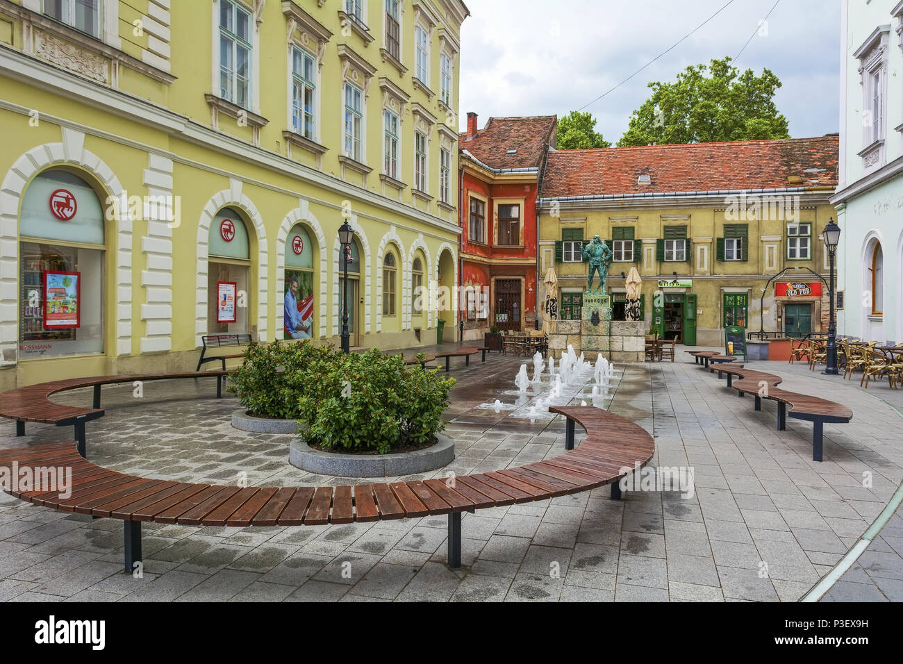 Statue of castle captains Gyorgy Varkocs on in the small square opening from the main street of Székesfehérvár,Hungary. - Stock Image