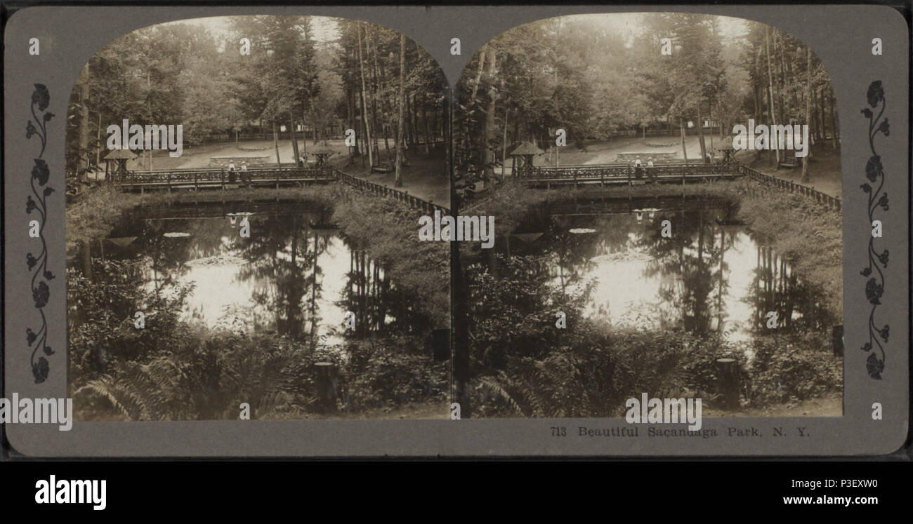 32 Beautiful Sacandaga Park, N.Y, from Robert N. Dennis collection of stereoscopic views - Stock Image