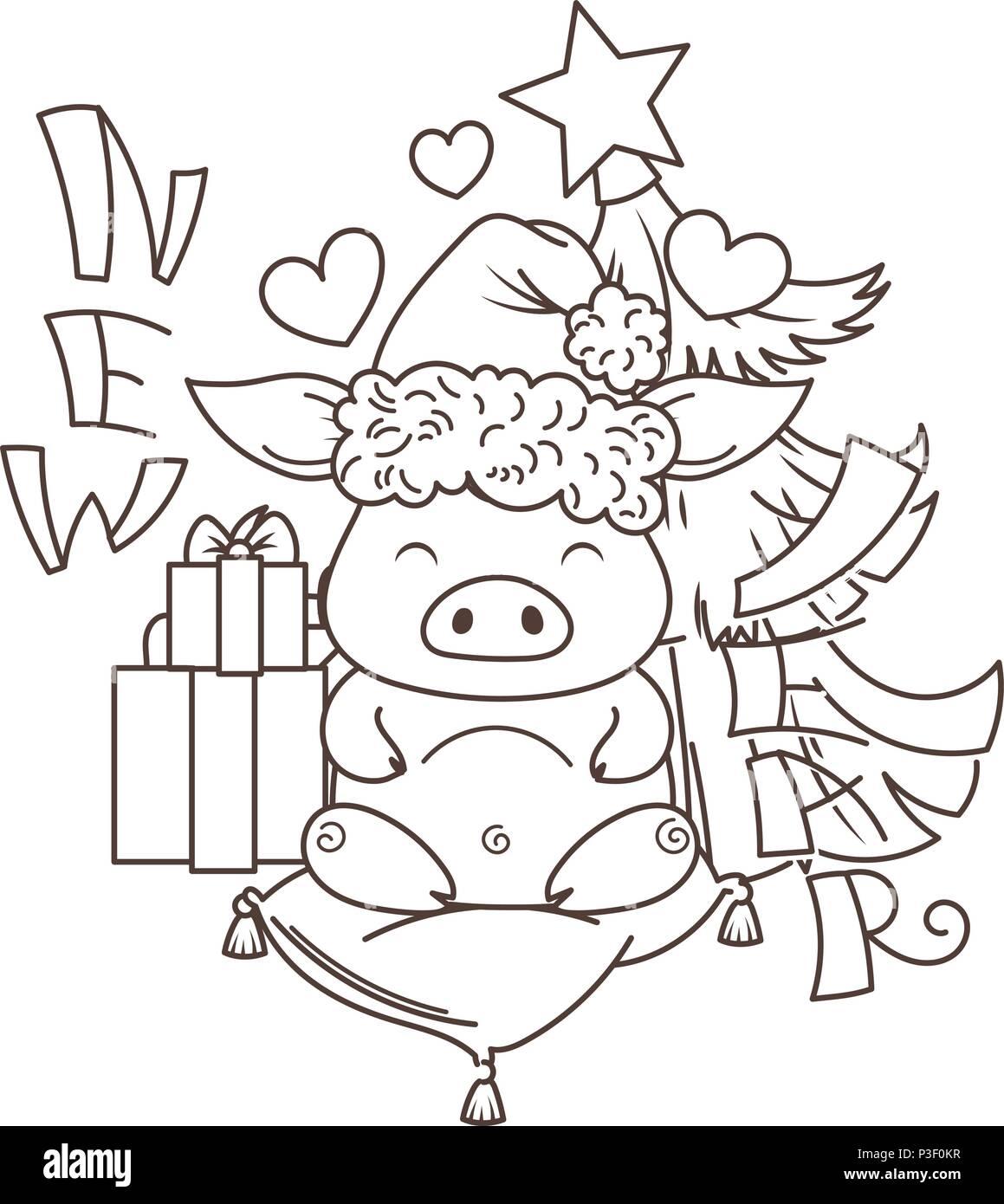 Поздравление, картинки карандашом с новым годом 2019 год свиньи прикольные