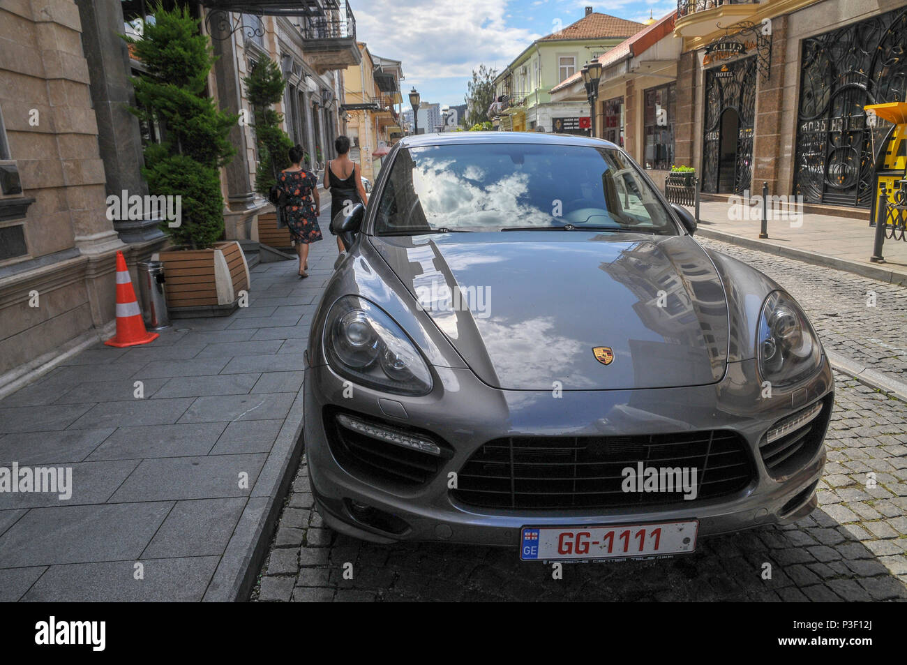 A Porsche parked in the street. Photographed in Batumi, Georgia Stock Photo