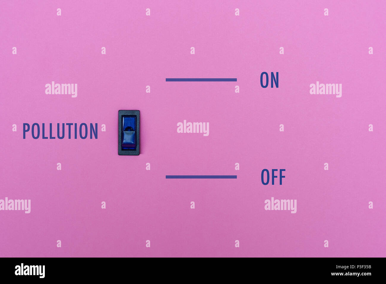 Pollution title on a pink wall with a blue symbol switch. We can stop the pollution in simple way? On/off toggle the pollution. Concept photo. - Stock Image