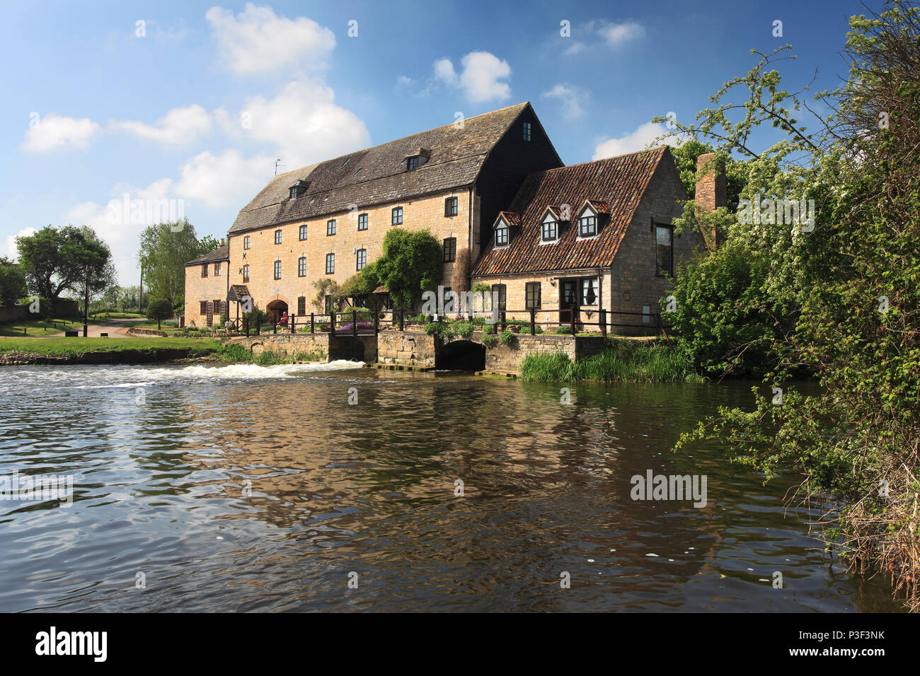 Water Newton Watermill, river Nene near Peterborough, Cambridgeshire, England; UK - Stock Image