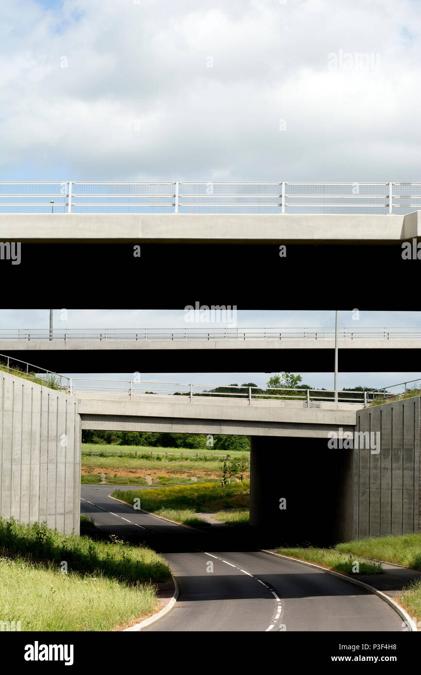 M6 motorway flyovers at Catthorpe Interchange, Leicestershire, England, UK - Stock Image