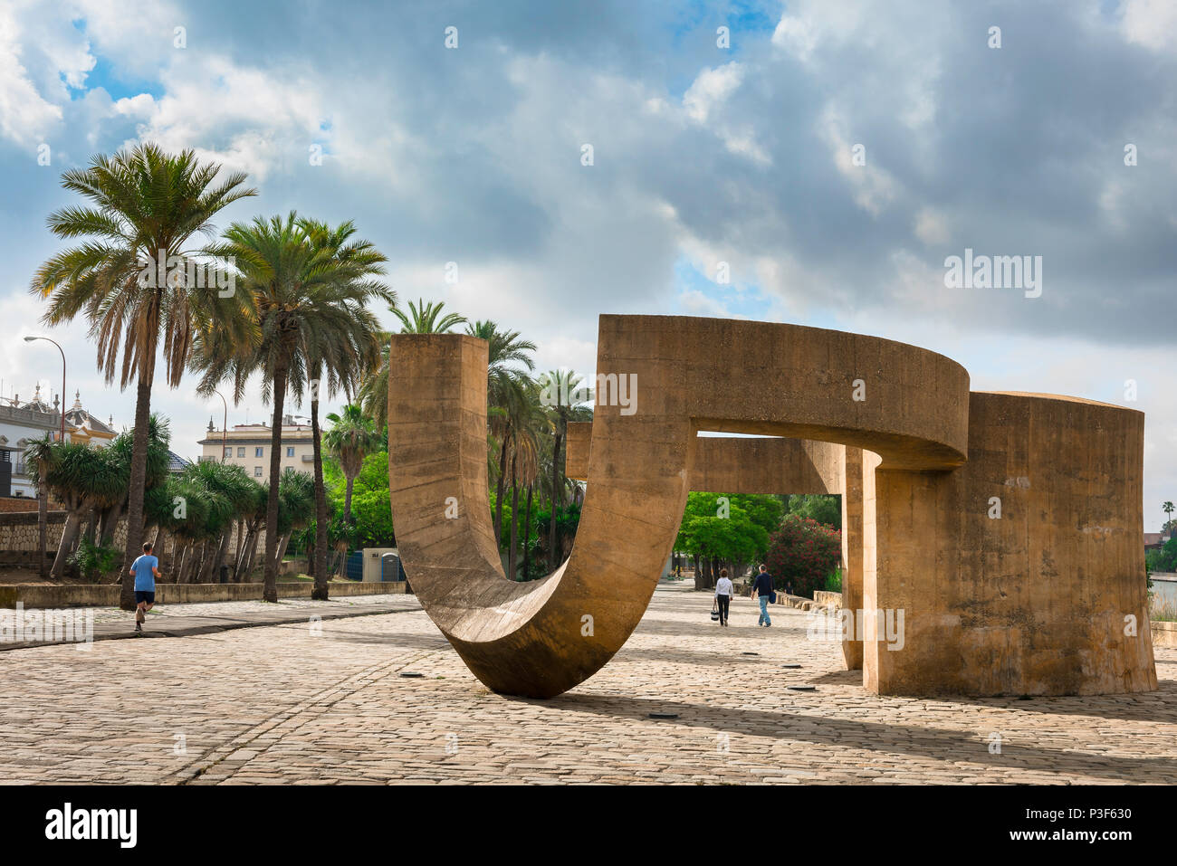 Seville tolerance monument, view of the Monumento a la Tolerancia sited on a footpath along the Rio Guadalquivir in Seville - Sevilla - Spain. - Stock Image