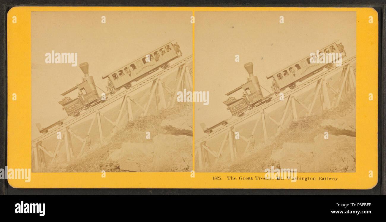 . The Great Tresle, Mt. Washington Railway.  Coverage: 1864?-1892?. Digital item published 2-16-2006; updated 6-25-2010. 310 The Great Tresle, Mt. Washington Railway, by Kilburn Brothers Stock Photo