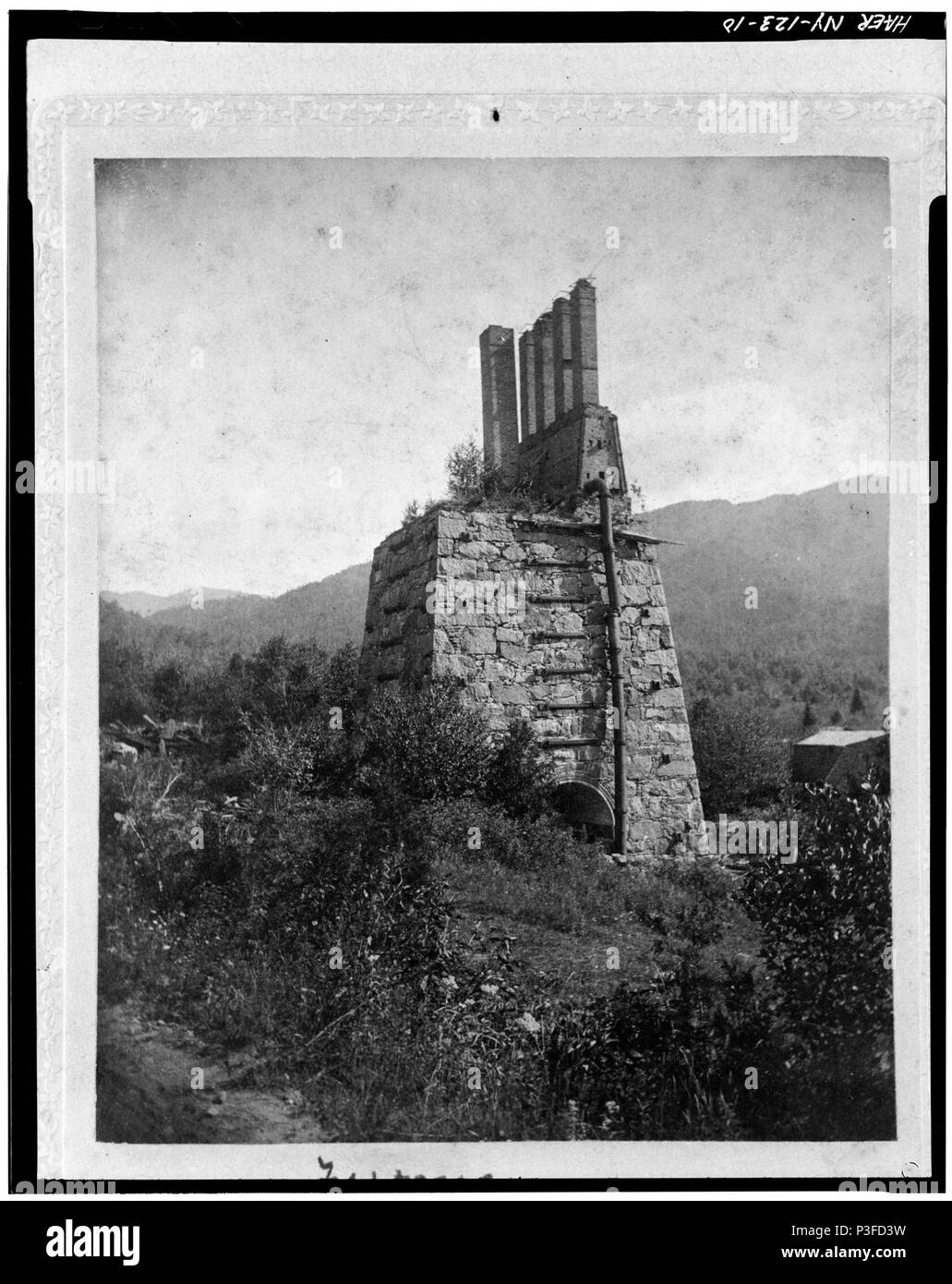 10. Photocopied June 1978. STACK AT THE 'NEW'FURNACE, CA. 1900. SOURCE UNKNOWN. OBTAINED FROM TAHAWUS CLUB. - Adirondac - LOC - hhh.ny0915.photos.116615p. - Stock Image