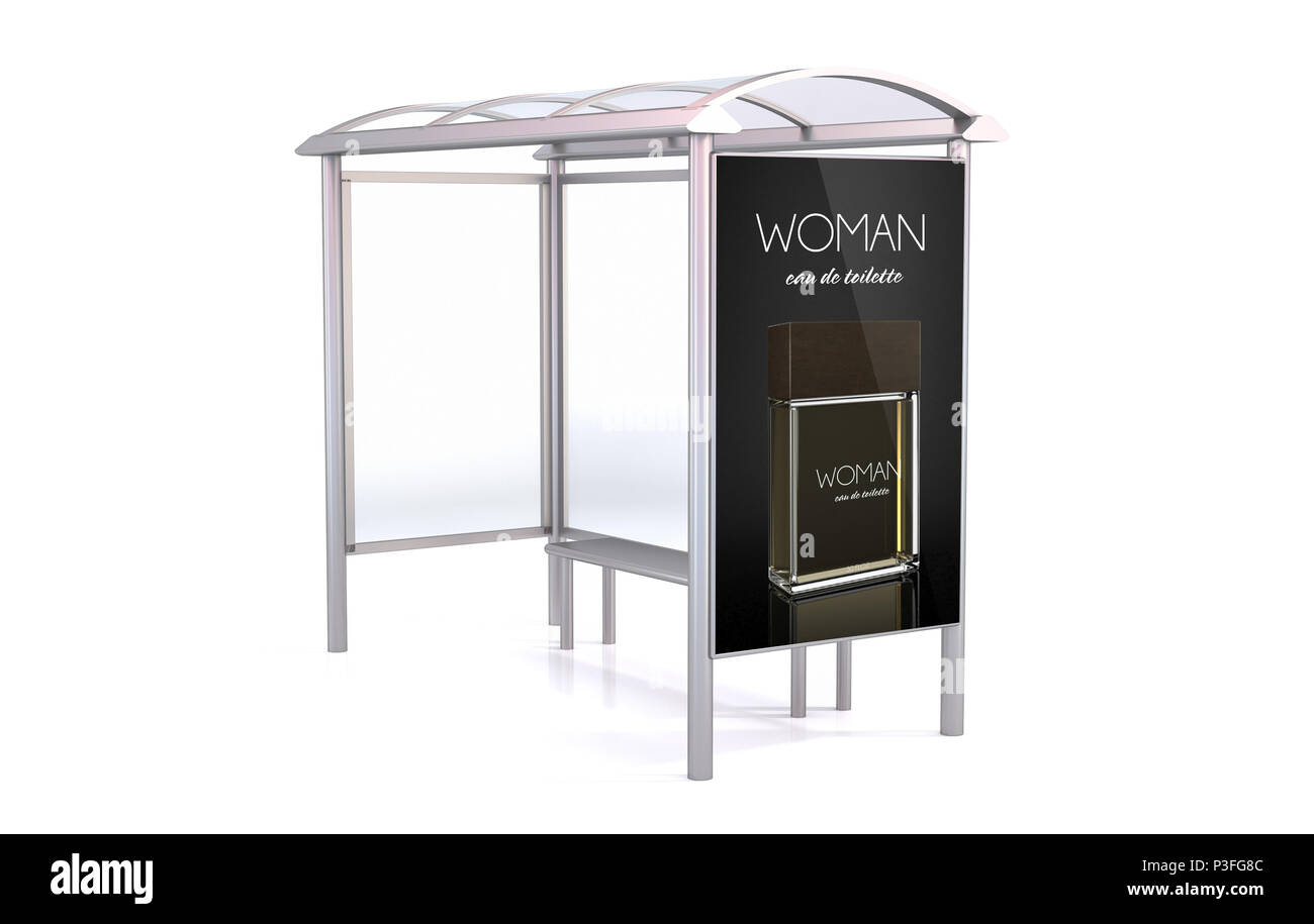 Bus Stop 3d rendering isolated on white background showing fragance advertisement - Stock Image