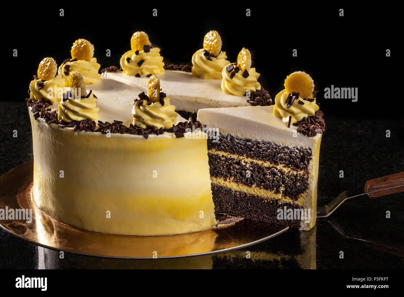 Round Yellow Birthday Cake Decorative Cream Decorations On The Cake