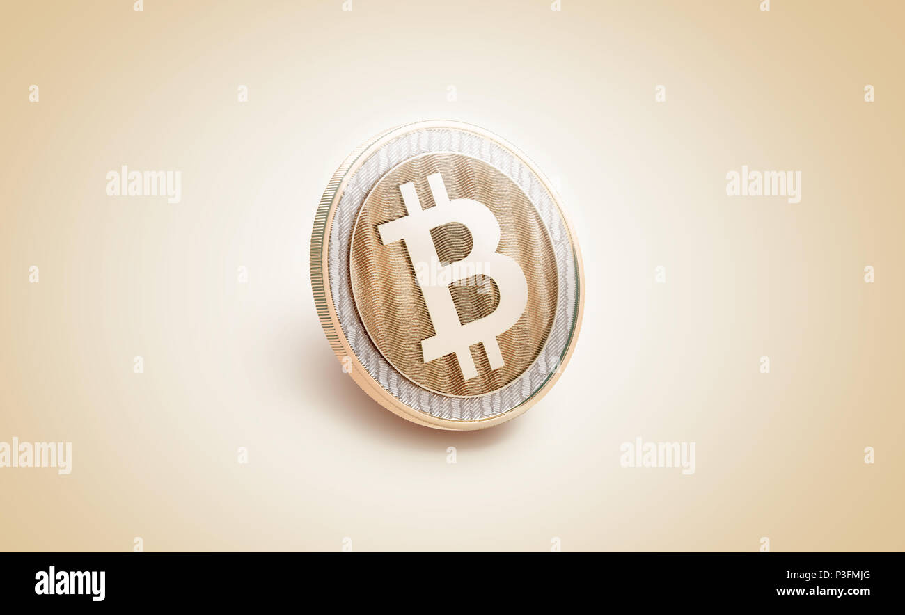 Blank gold shiny bitcoin mockup, 3d rendering. Empty golden bit coin piece of money mockup, side view. Clear valuable shiner template - Stock Image