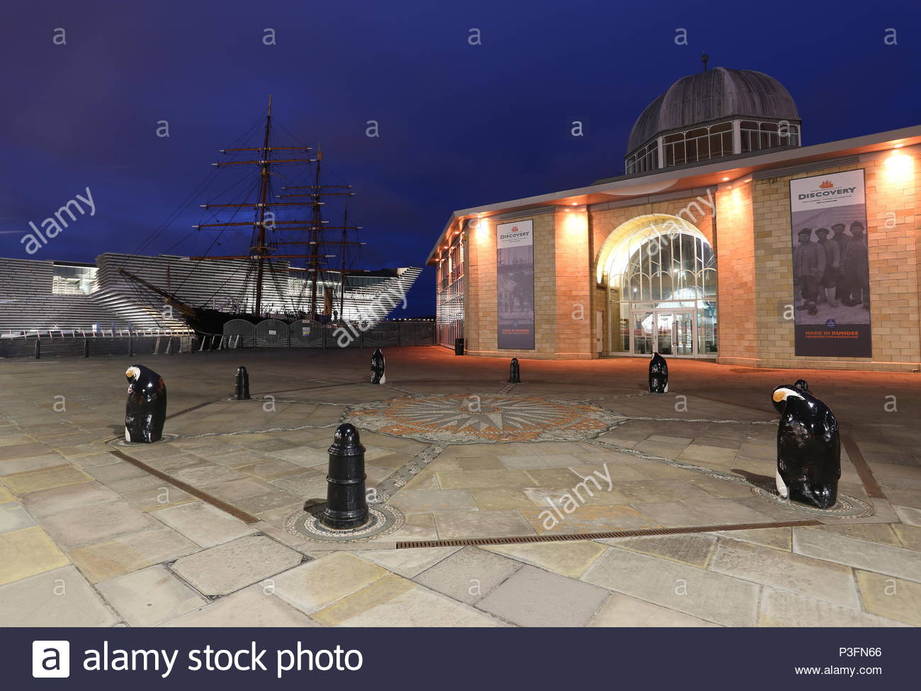 Discovery Point Visitors Centre, RRS Discovery and V&A Design Museum by night Dundee Scotland  June 2018 - Stock Image