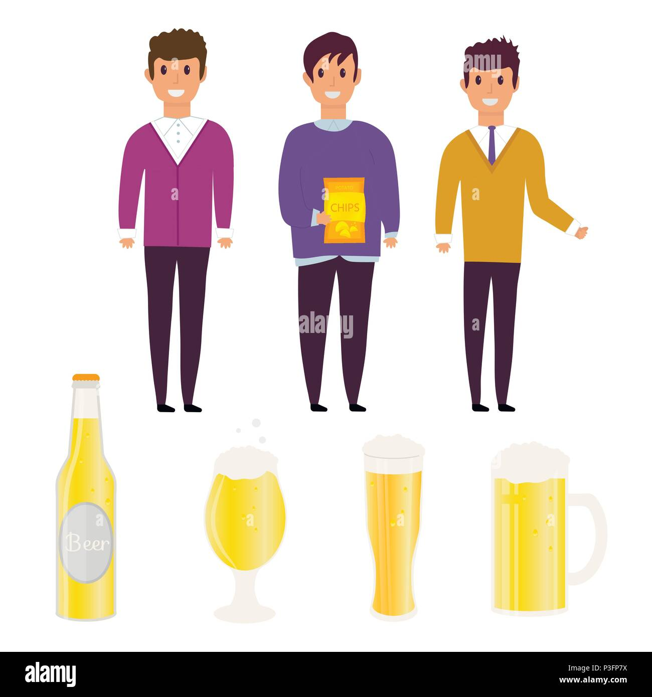Young man with  beer bottle, mugs and glasses. Vector icon with alcoholic beverages. Wheat beer, lager, craft beer, ale. Stock Vector