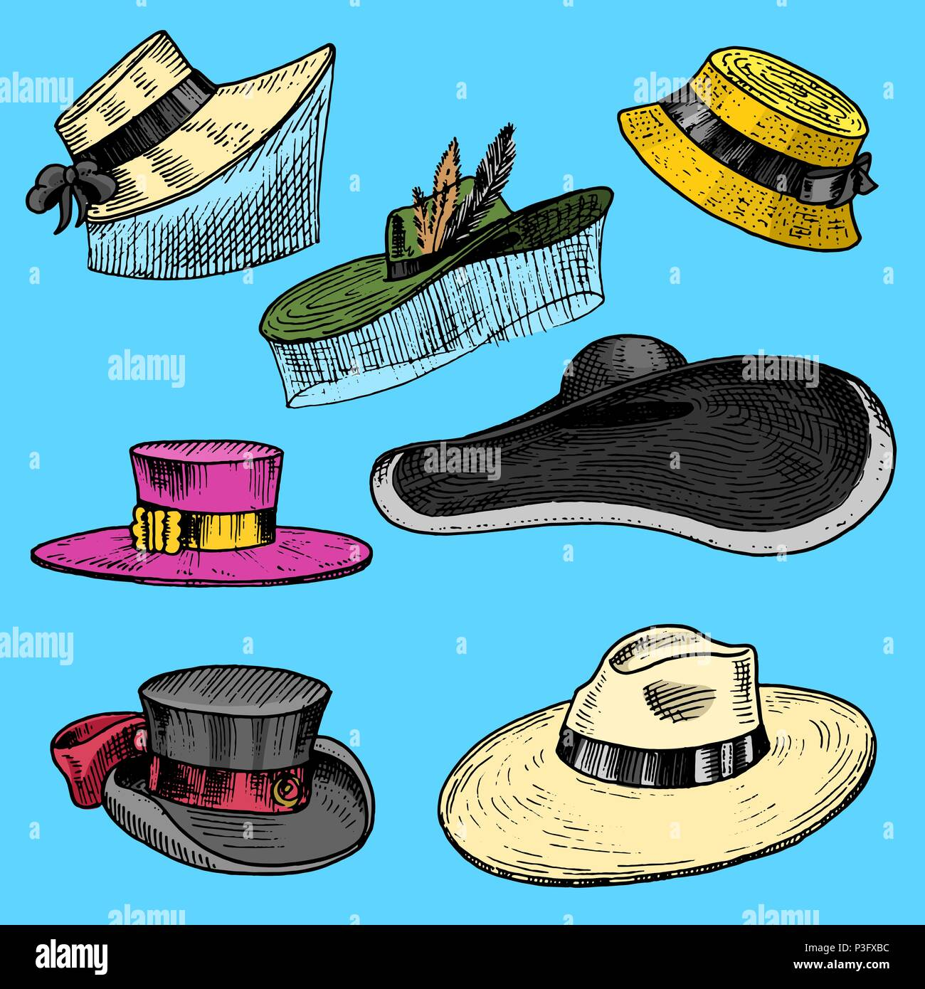 c74d1236 Summer Hats collection for elegant woman, female and ladies. Retro fashion  vintage set.