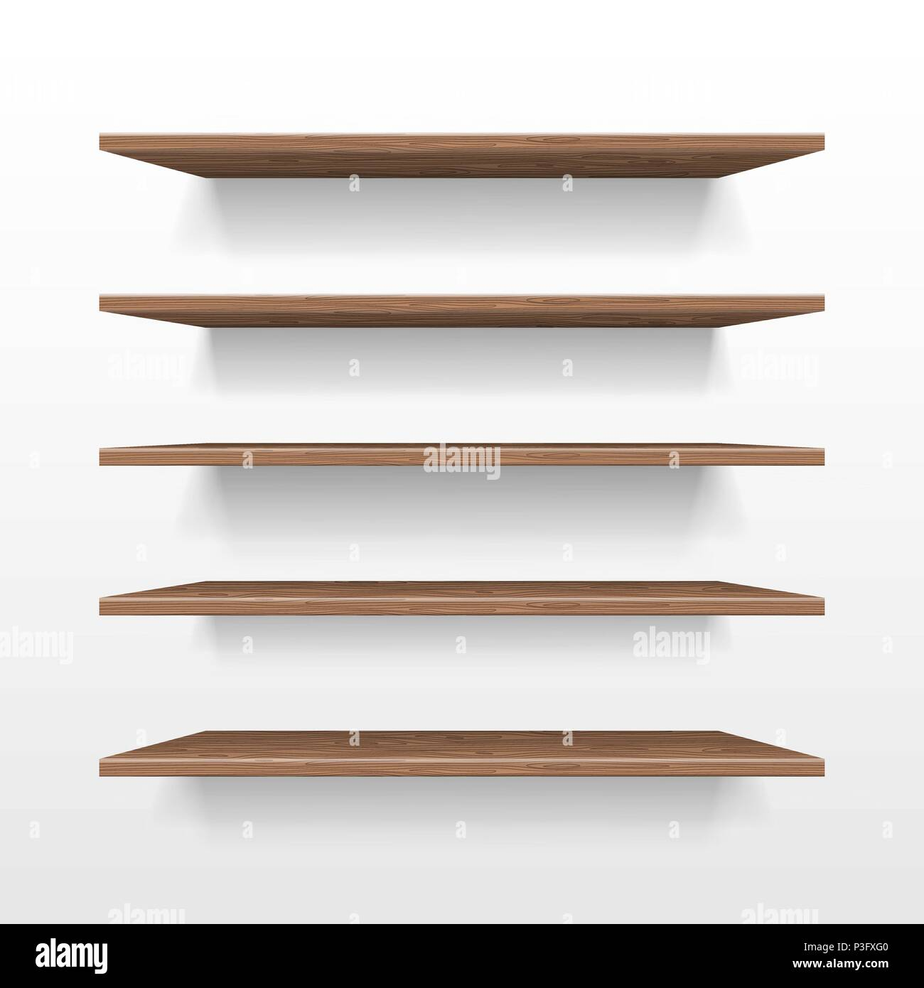 Empty Wooden Shop Or Exhibition Shelf Retail Shelves Mockup Isolated Realistic Bookshelf With Shadow On Wall 3d Store Vector