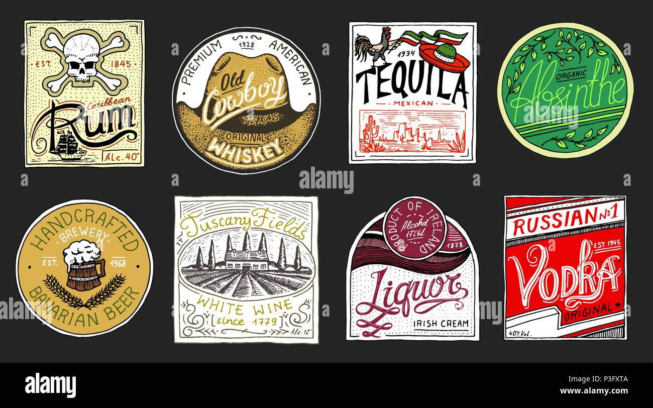 Vintage American badge. Absinthe Tequila Vodka Liqueur Rum Wine Strong whiskey Beer. Alcohol Label with calligraphic elements. Frame for poster banner. Hand drawn engraved lettering for t-shirt. Stock Vector