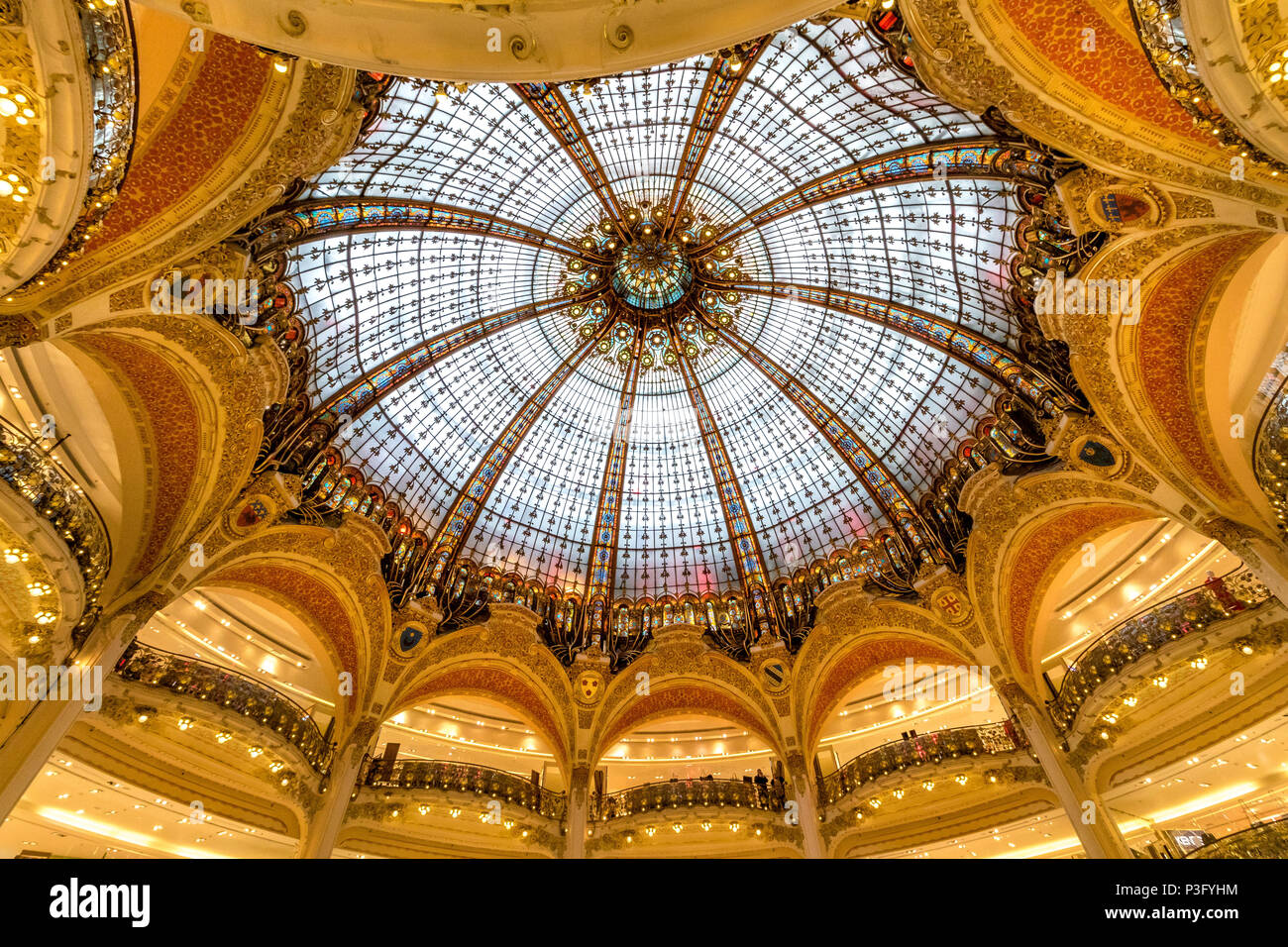 Interior of the flagship store Galeries Lafayette an upmarket French department store chain which is located on Boulevard Haussmann ,Paris - Stock Image