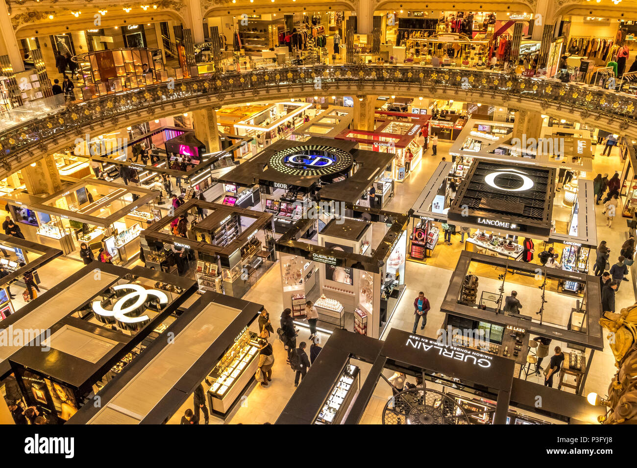 Splendid Interior of  Galeries Lafayette ,an upmarket French department store chain  which is located on Boulevard Haussmann, Paris,France - Stock Image