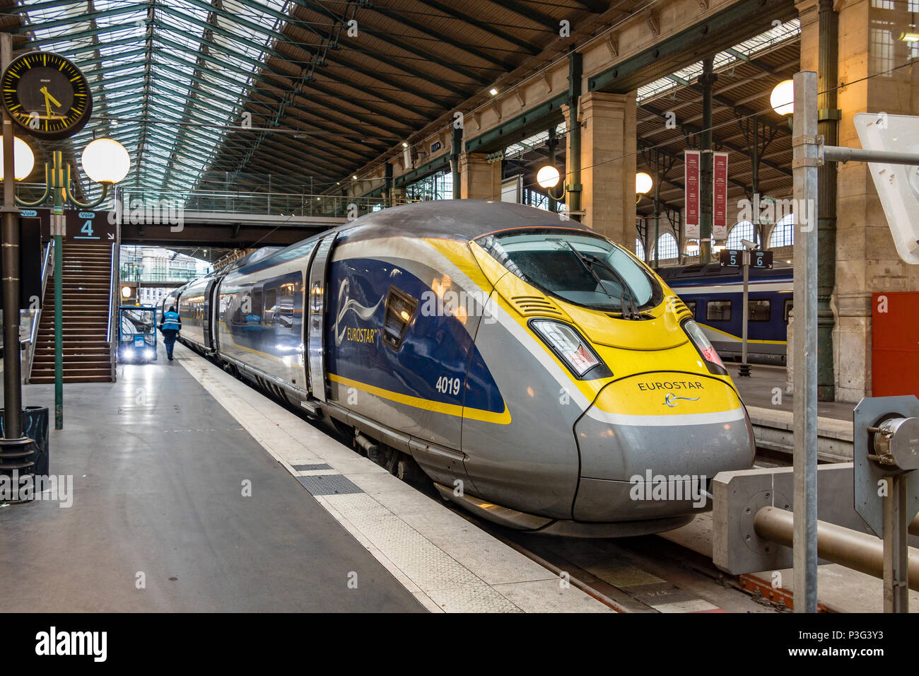 Eurostar Class 374 e320 electric multiple unit at Gare du Nord station in Paris,France - Stock Image