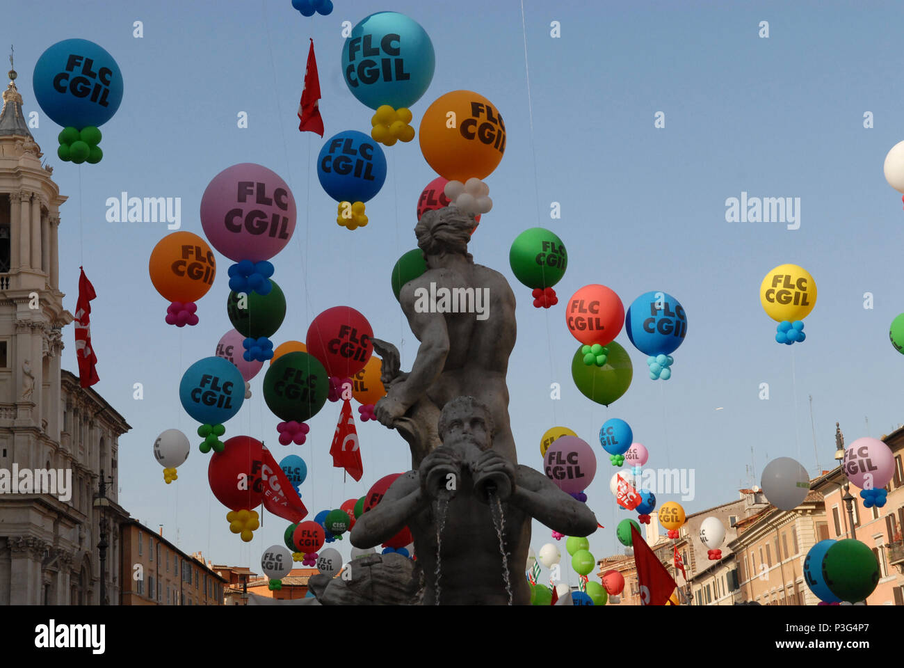 Rome. CGIL school trade union protest against government policies. Italy. - Stock Image