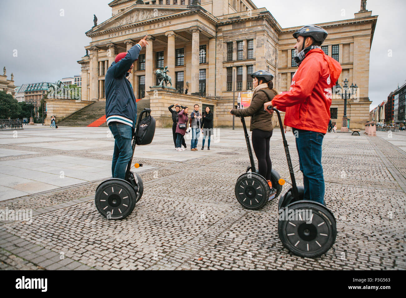 Berlin, October 1, 2017: Tourists on the square next to the Berlin Concert House - Stock Image