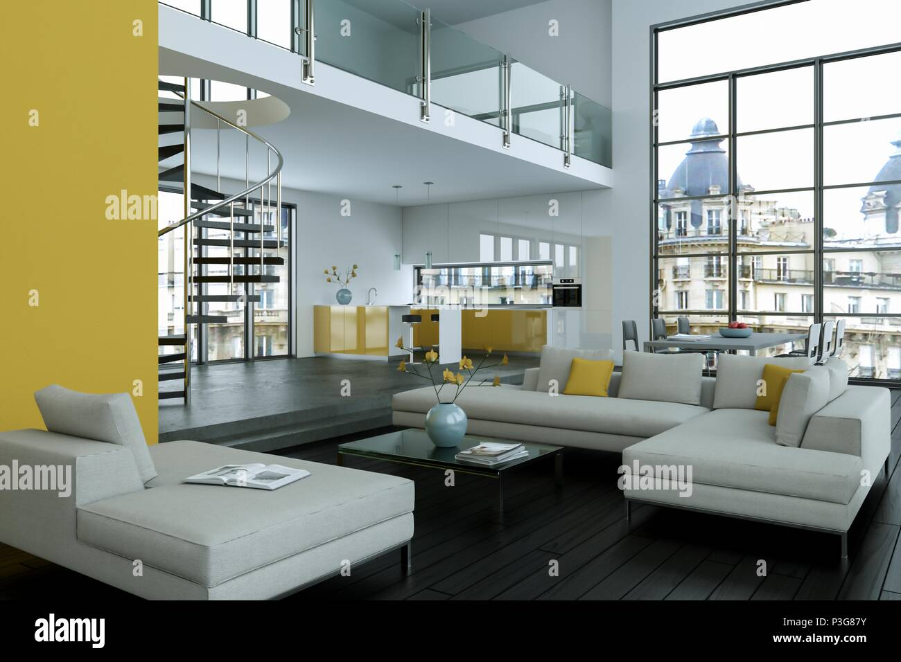 Modern bright loft with big Windows interior design & Modern bright loft with big Windows interior design Stock Photo ...