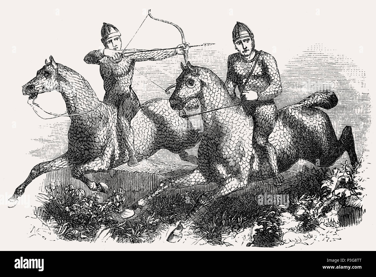 Sarmatian cavalry during Dacian Wars, lizard-like scale armour made of stitched together hoof plates - Stock Image