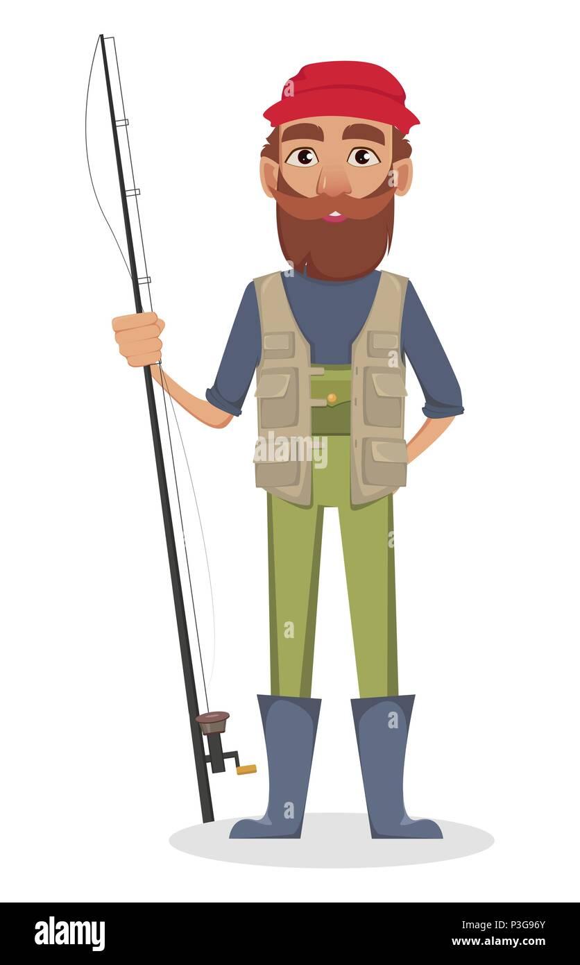 Fisher cartoon character. Fishermen holding fishing rod. Vector illustration on white background - Stock Image