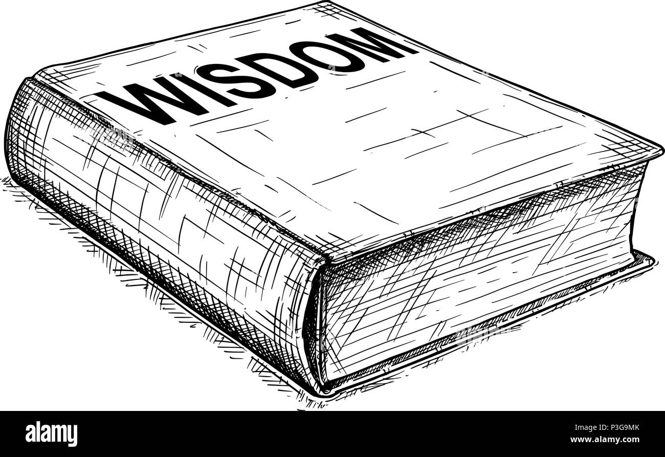 Vector Artistic Drawing Illustration of Old Closed Book of Wisdom - Stock Vector