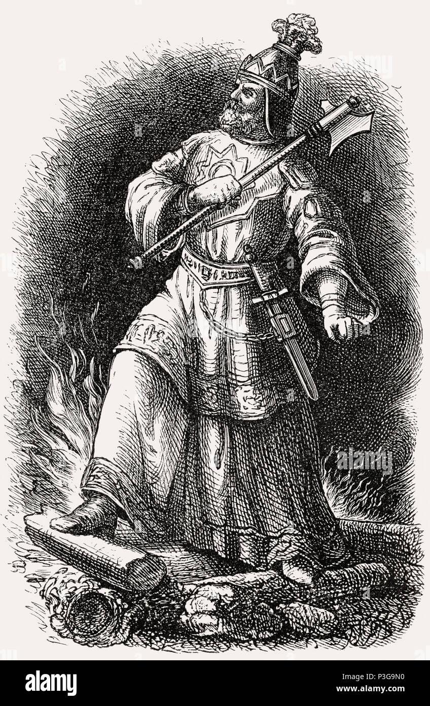 Attila the Hun, leader of the Hunnic Empire - Stock Image