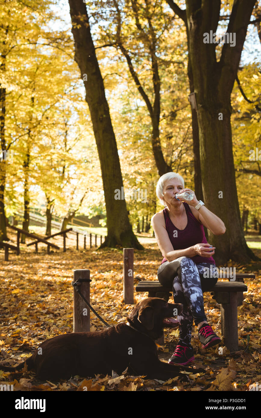 Thoughtful senior woman drinking water in a park with her dog - Stock Image