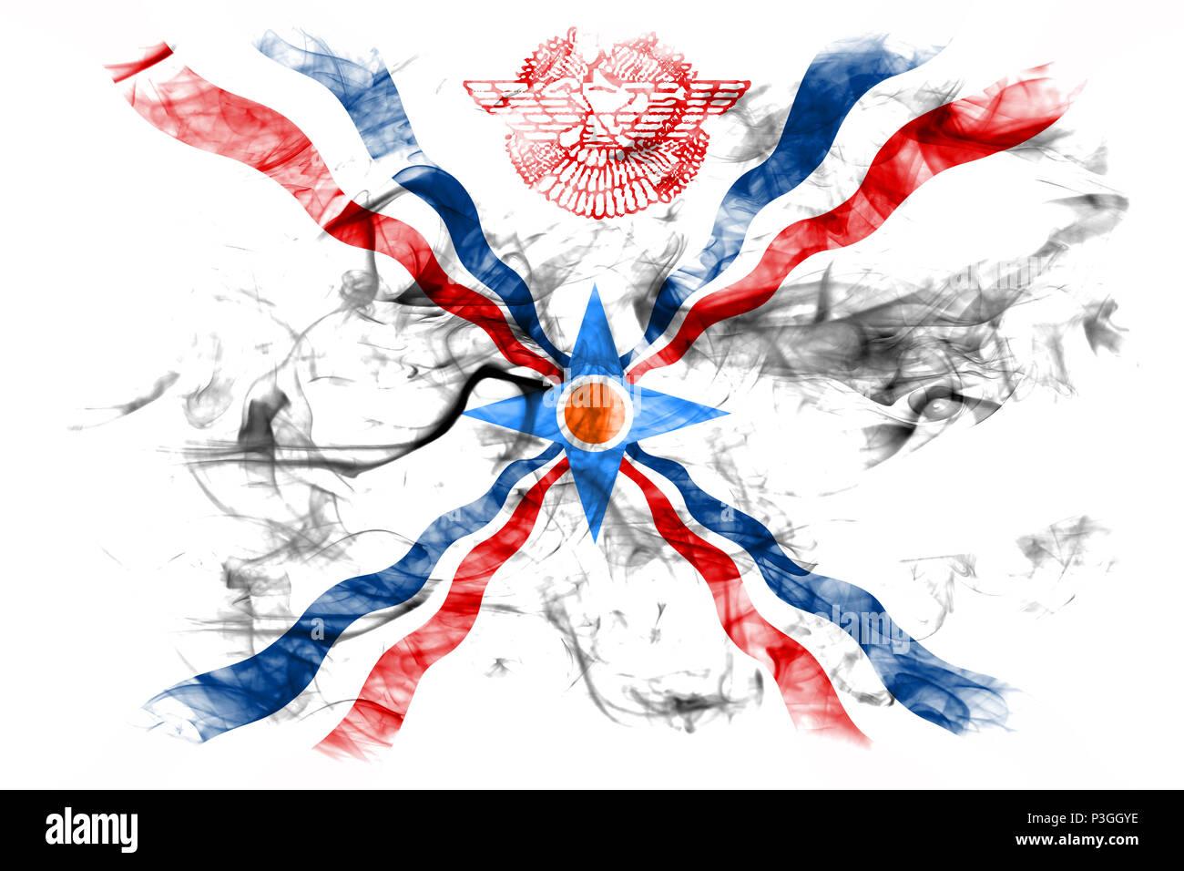 Assyria smoke flag, dependent territory flag - Stock Image
