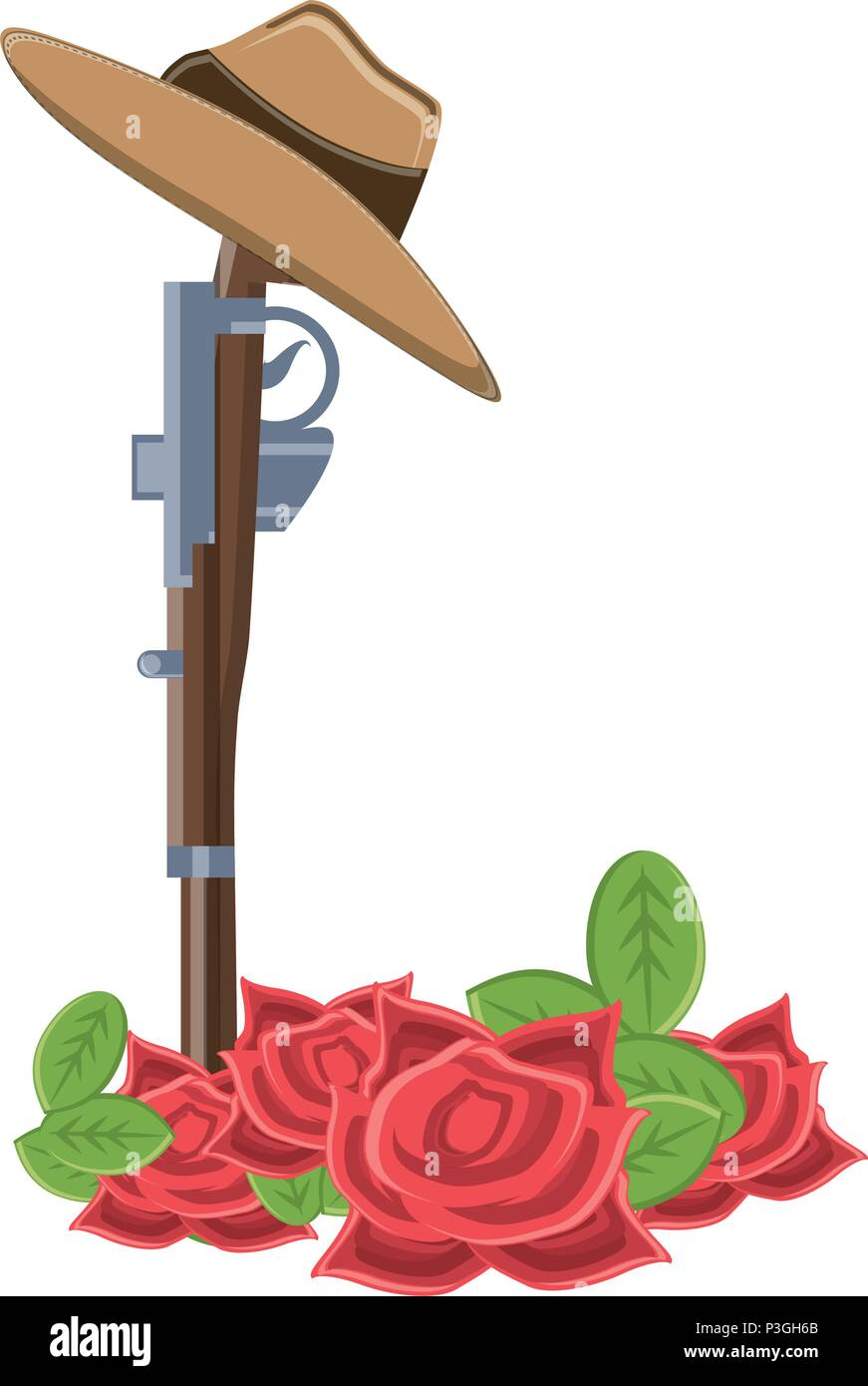 Anzac day design with poppy flowers and weapon over white background, vector illustration - Stock Vector