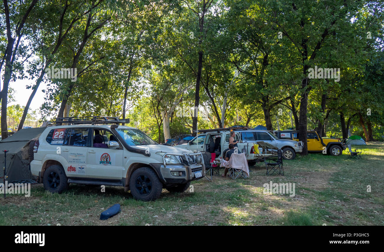 Gibb Challenge 2018 four wheel drive vehicles at a campsite at El Questro Kimberley WA Australia. - Stock Image