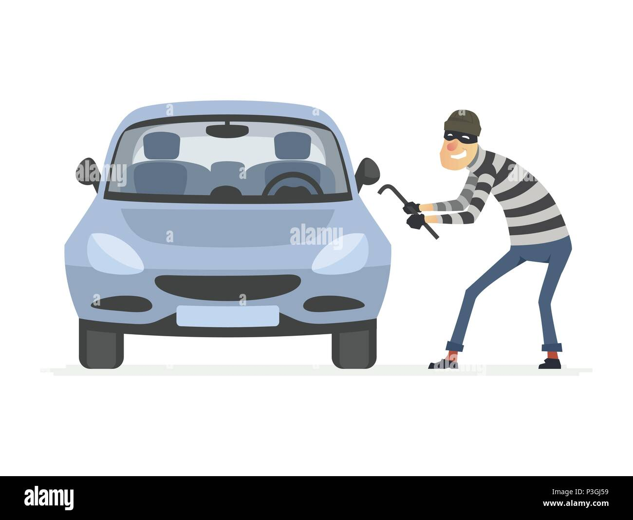 Car thief - cartoon people characters illustration Stock Vector
