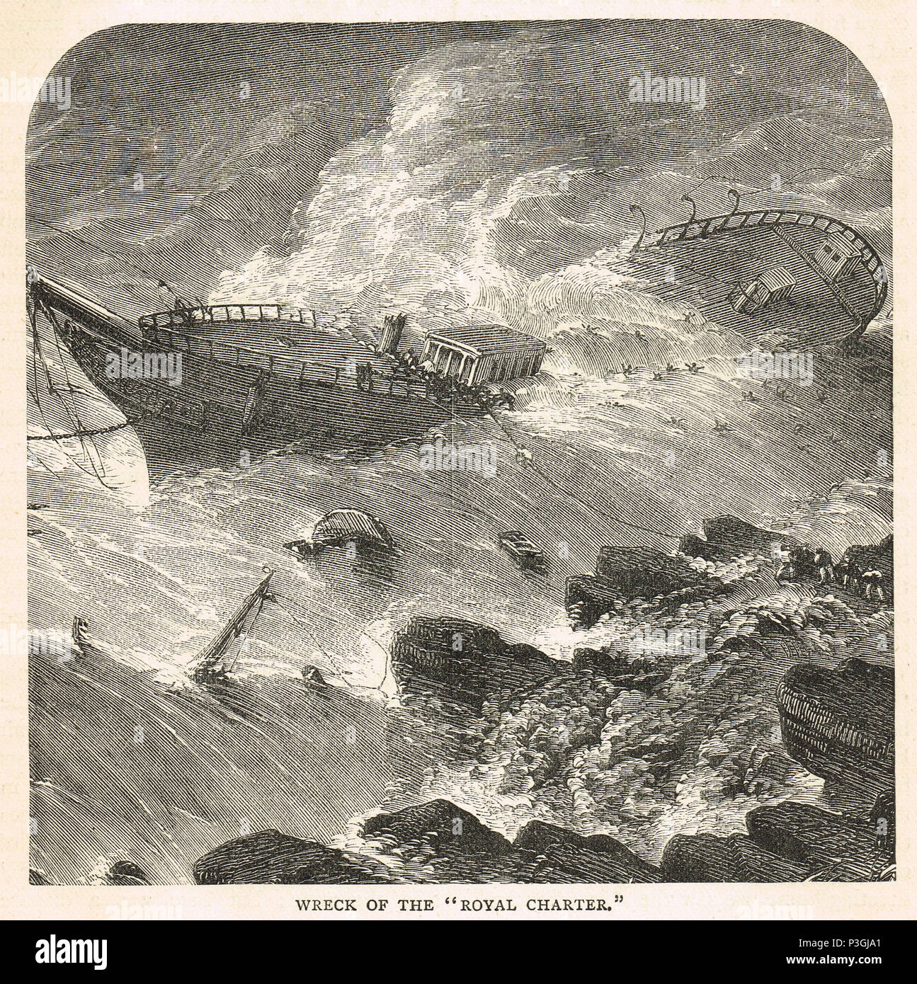 Royal Charter steam clipper, wrecked off the beach of Porth Alerth, in Dulas Bay, on the north-east coast of Anglesey, on 26 October 1859 - Stock Image