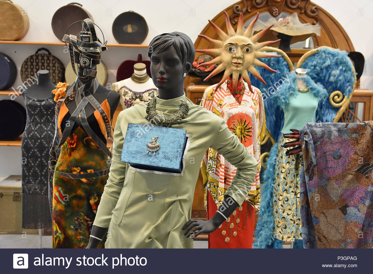 'Fashion Victim' - exhibition of the excessive and irrational consumerism of our society. Museum of Automobiles and Fashion in Malaga Spain. - Stock Image