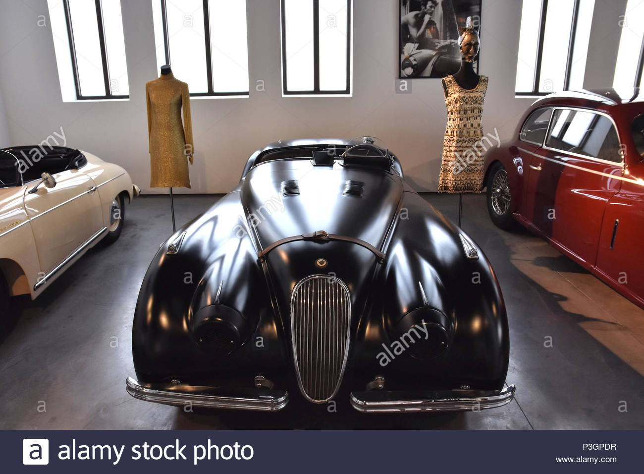 Jaguar XK 120 roadster 1954 sports car displayed at Museum of Automobiles (Museo Automovilístico ) in Malaga Spain Europe. - Stock Image