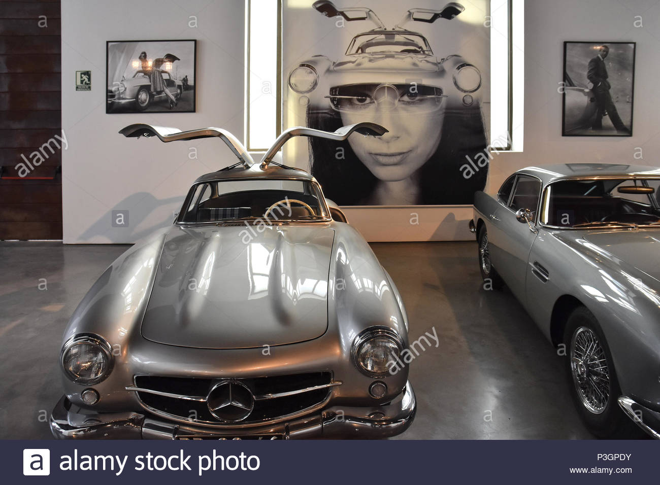 'Gullwing - The Legend'  Mercedes Benz Model 300 SL coupe displayed at Museum of Automobiles (Museo Automovilístico ) in Malaga Spain. - Stock Image