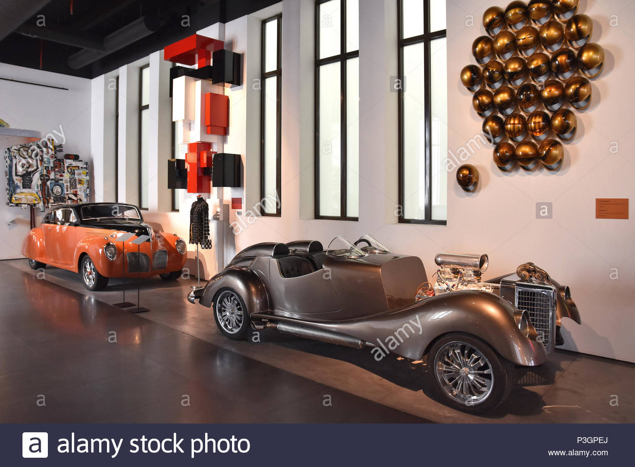 'The Bomb' designed by Maga Collection inspired by competition cars of the 50s with 530 hp engine displayed at Museum of Automobiles in Malaga Spain. - Stock Image