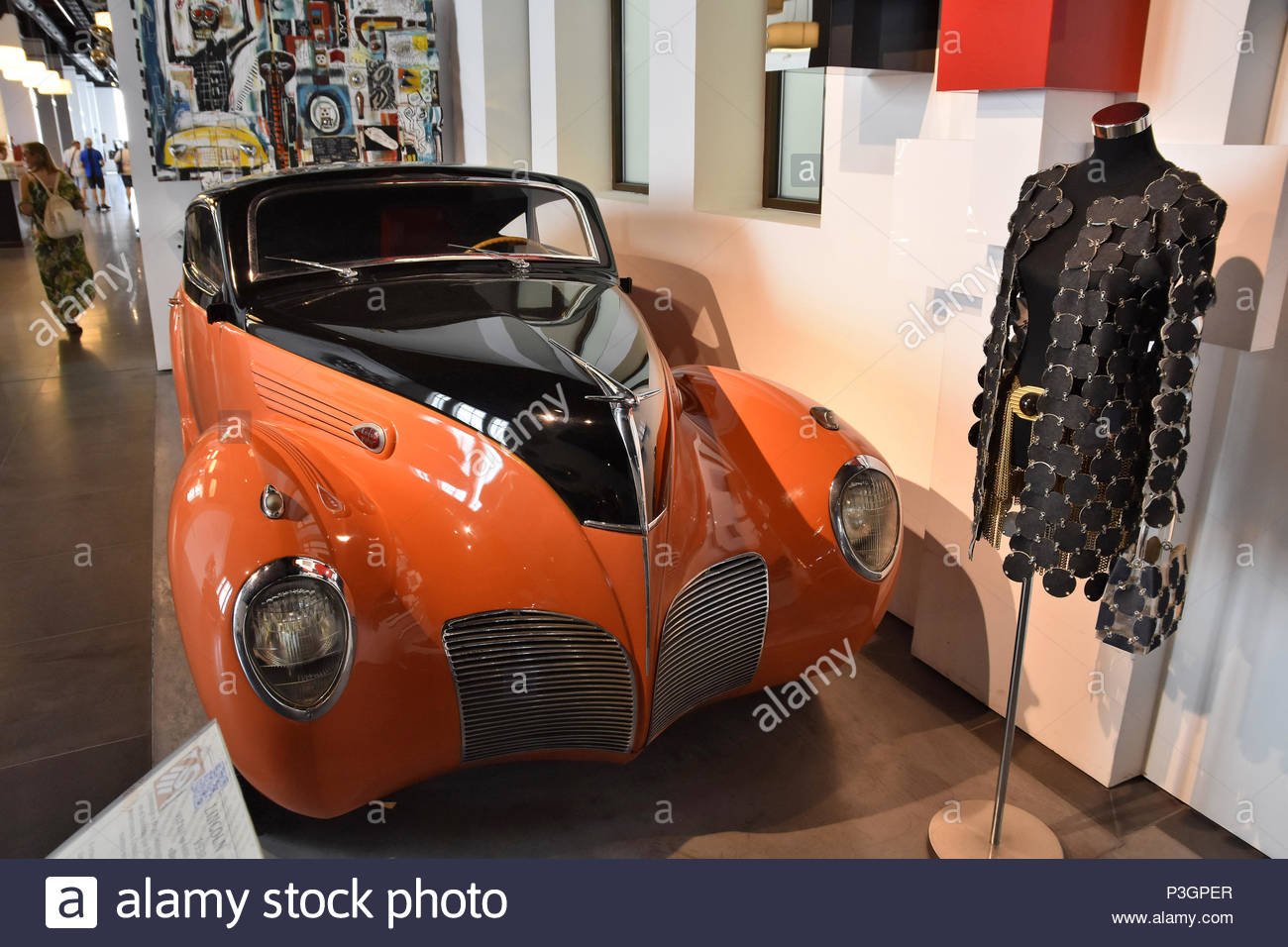 'Barracuda' - tuned car by Maga Collection Group and dress designed by Paco Rabanne displayed at Museum of Automobiles And Fashion in Malaga Spain. - Stock Image